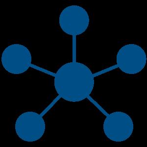 Ilustracija šest plavih kuglica koje su povezane plavim linijama od kojih je jedna u centru a ostalih pet su oko nje