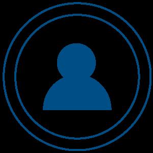Ilustracija plavog čovečuljka u dupliranom krugu uokvirenom plave boje