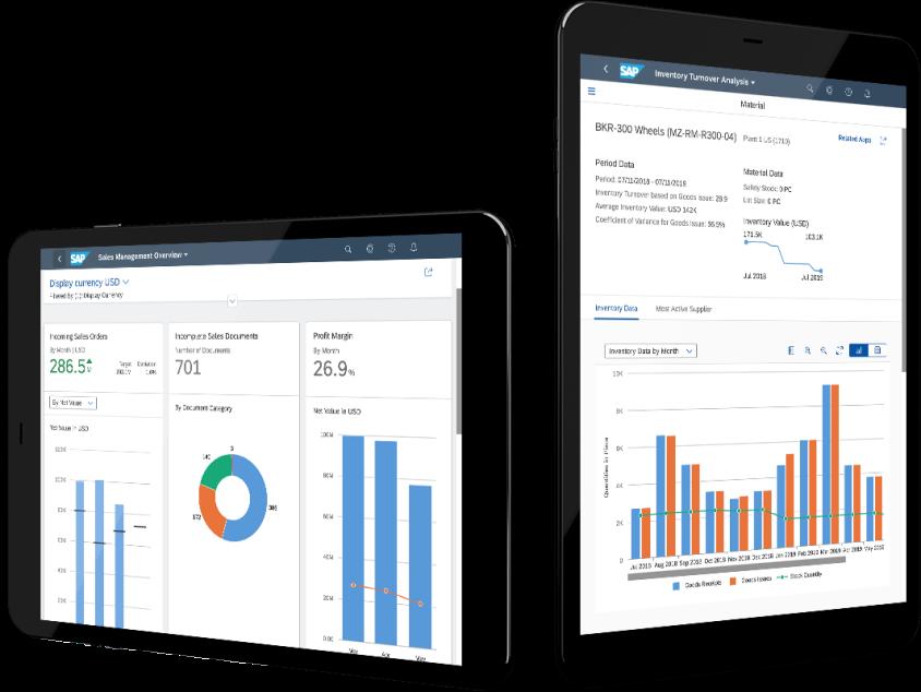Slika dva tableta na čijim ekranima su izveštaji sa graficima