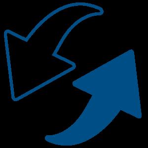 Ilustracija dve strelice koje idu u krug gde je jedna uokvireno plava a druga plava