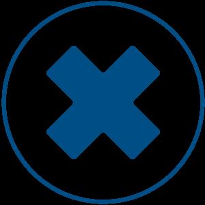 Ilusracija plavog znaka x u krugu koji ima plavi okvir