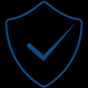 Ilustracija plavo uokvirenog štita koji predstavlja zaštitu od pretnji