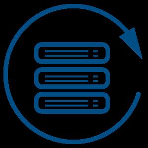 Ilustracija plave strelice koja ide u krug