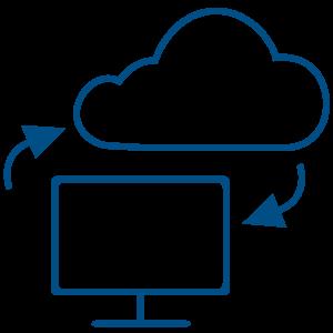 Ilustracija monitora računara i oblaka sa dve strelice od kojih jedna ide ka oblaku od računara a druga od oblaka ka računaru