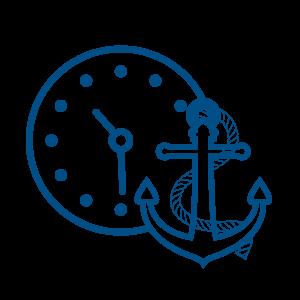 Ilustracija sata i sidra pored njega