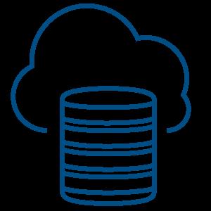 Ilustracija servera i oblaka iza njega