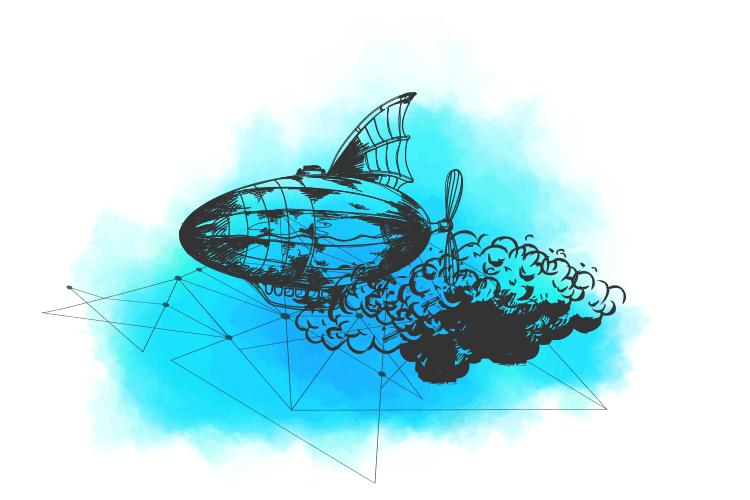 Ilustracija cepelina u oblacimi koji predstavlja hibridni cloud