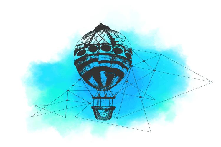 Ilustracija vazdušnog balona koja predstavlja rapid migraciju