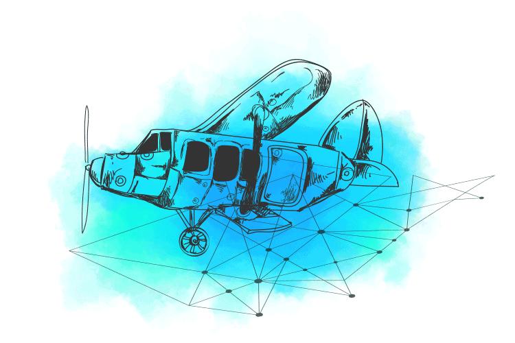 Ilustracija sastavljanja aviona kao sinonim za usluge migracije i dizajna