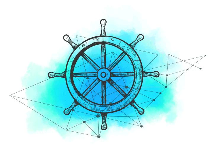 Ilustracija kormila koji predstavlja logotip kubernetesa