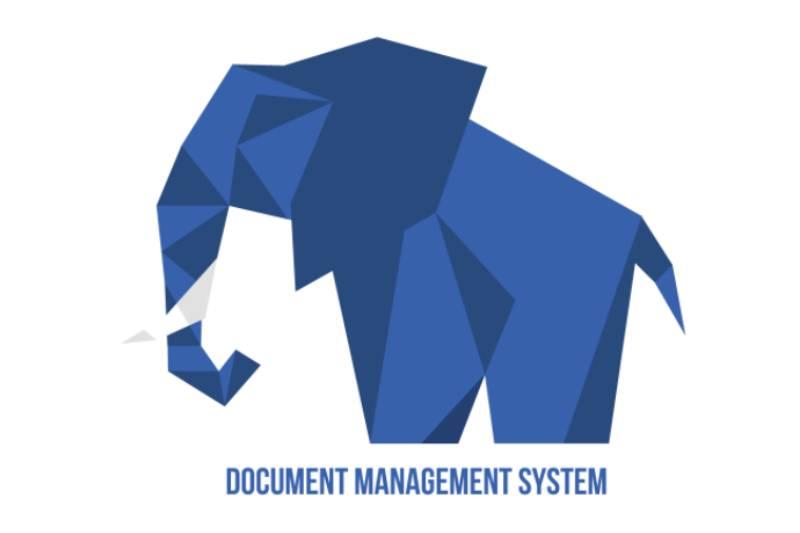 Ilustracija plavog slona ispod koga piše Document management system - logotip ComDocs-a